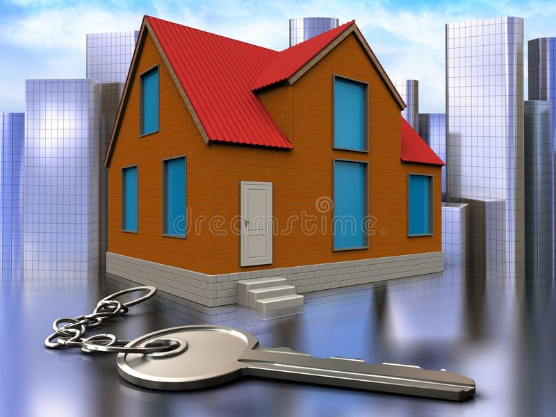 3d key over city. 3d illustration of cottage with key over city background royalty free illustration
