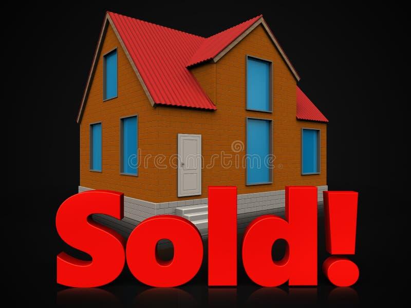 3d sold sign over black stock illustration