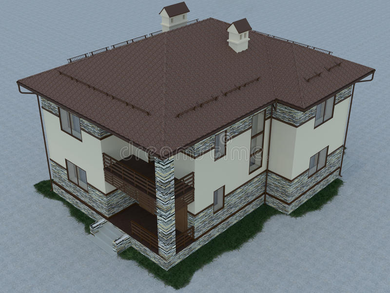 3d illustration of a country house. 3d rendering of a country house royalty free illustration