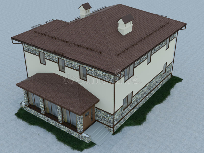 3d illustration of a country house. 3d rendering of a country house vector illustration