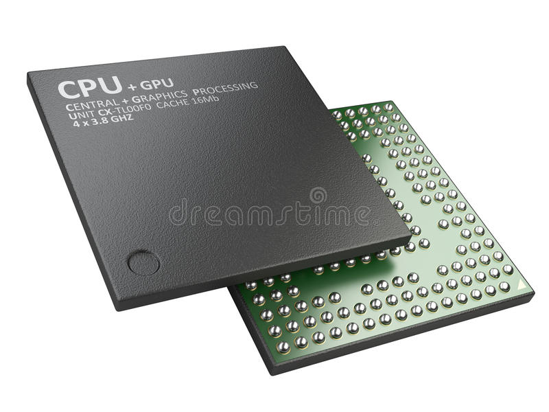 3d illustration of cpu chip central processor unit. Isolated on white background vector illustration