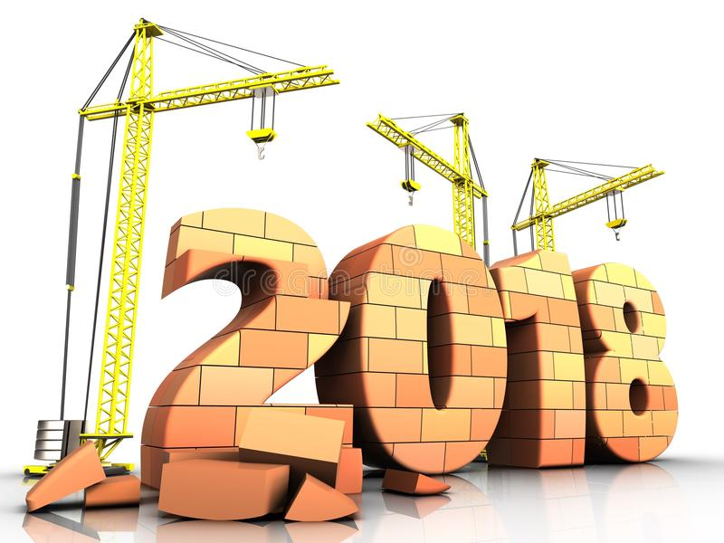 3d bricks 2018 year sign. 3d illustration of cranes building bricks 2018 year sign over white background vector illustration