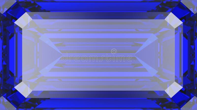 3D illustration crop sapphire diamond macro zoom vector illustration