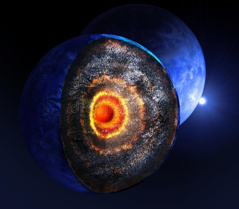 3d illustration. Cross-section of the alien planet with visible core. royalty free illustration