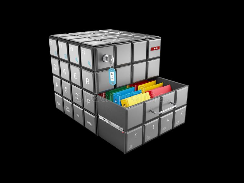 3d illustration of cube with keyboard buttons with files , isolated black stock image