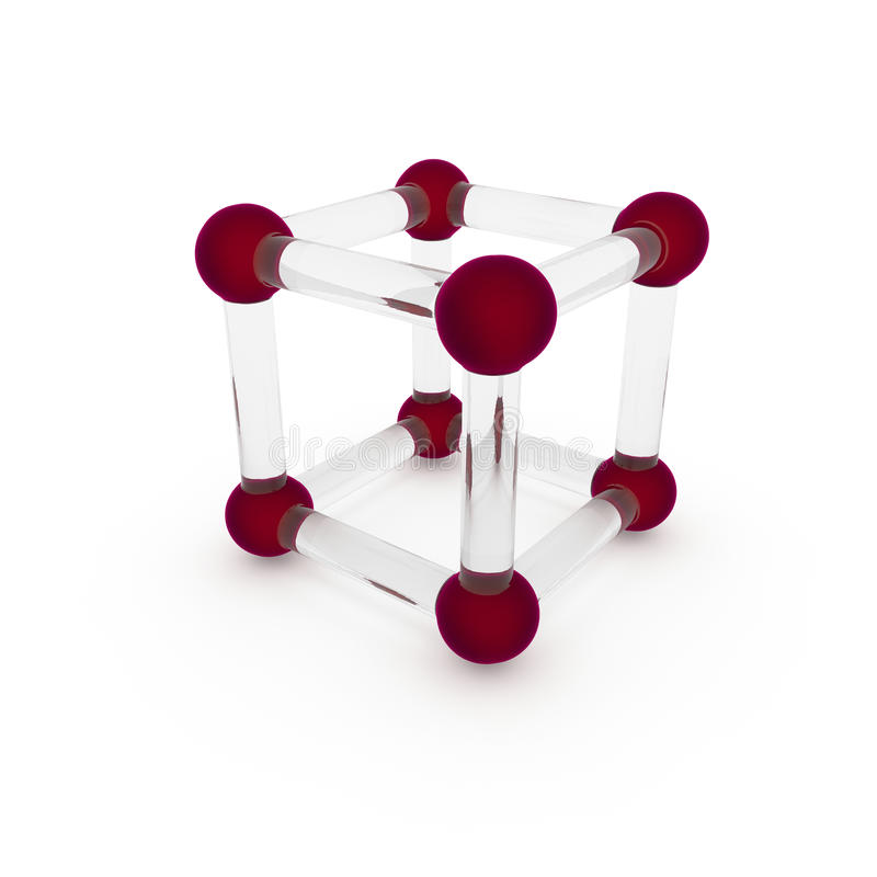 3d illustration, 3d render.Scientific concept glass molecule of abstract matter. Angular atoms are made of colored glass, stock illustration