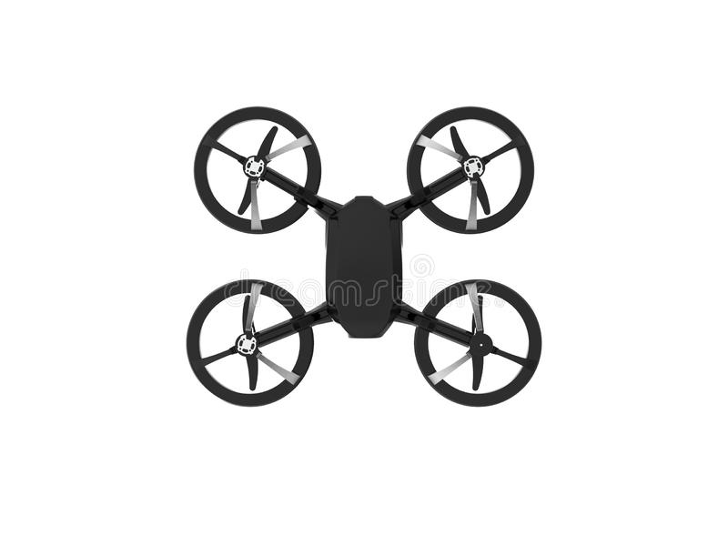 3D illustration of a black drone isolated in white background vector illustration