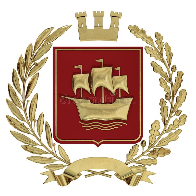 3D illustration Heraldry, red coat of arms. Golden olive branch, an oak branch, a crown, a shield, a ship. Isolat. stock illustration