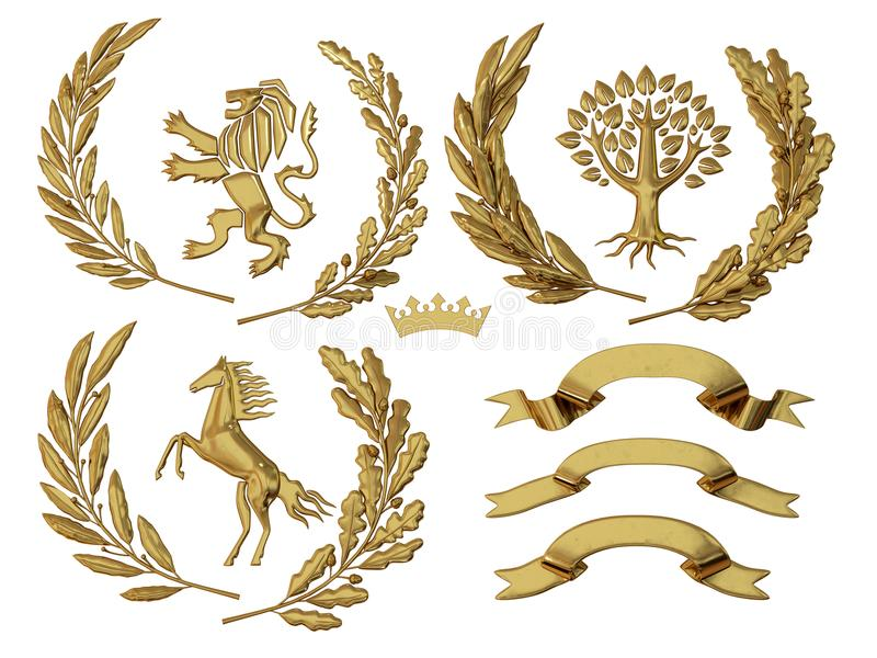 3D illustration of heraldry. A set of objects. Golden olive branches, oak branches, crowns, lion, horse, tree. 3D illustration, 3d rendering, of heraldry. A set royalty free illustration