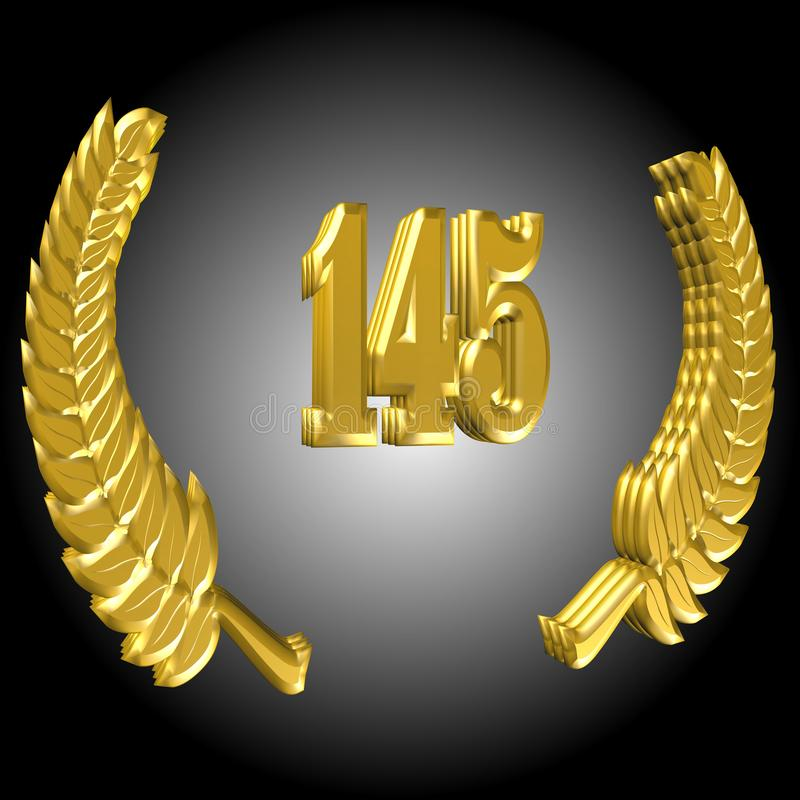 3D Illustration: A laurel wreath with the number 145, symbol image for a jubilee, anniversaries, successes royalty free illustration
