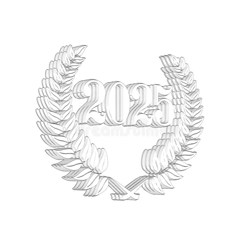 3D Illustration: A laurel wreath with the number 2025, symbol image for a jubilee, anniversaries, successes royalty free illustration
