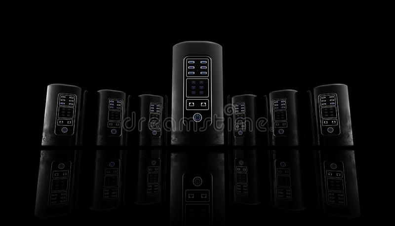 New style Servers for web site and banner on black background, Internet servers, hosting site royalty free illustration