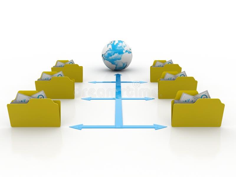 3d illustration of Data sharing concept vector illustration