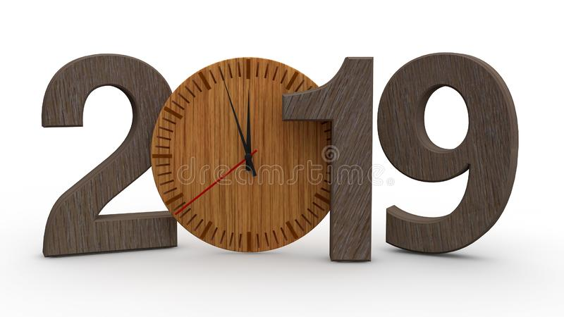 3D illustration of 2019, date with wooden mechanical clock. Idea for calendar, new year holidays, celebration and joy. 3D renderin. G isolated on white stock illustration