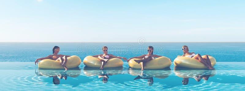 3D-Illustration de las mujeres que nadan en el flotador en una piscina libre illustration