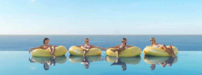3D-Illustration de las mujeres que nadan en el flotador en una piscina ilustración del vector