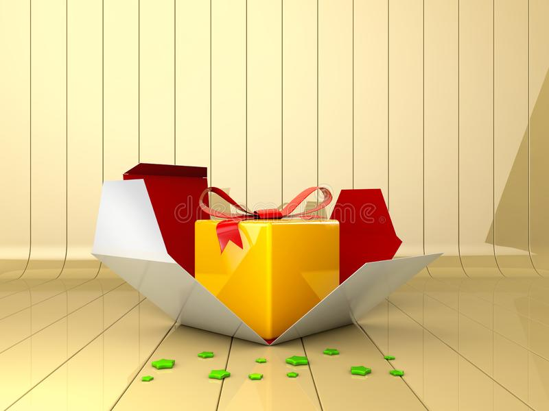 3d Illustration of Decorative gift box with red bow. stock images