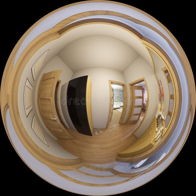 3d illustration 360 degrees panorama of hall interior design. 3d illustration spherical 360 degrees, seamless panorama of hall interior design. Modern studio royalty free illustration