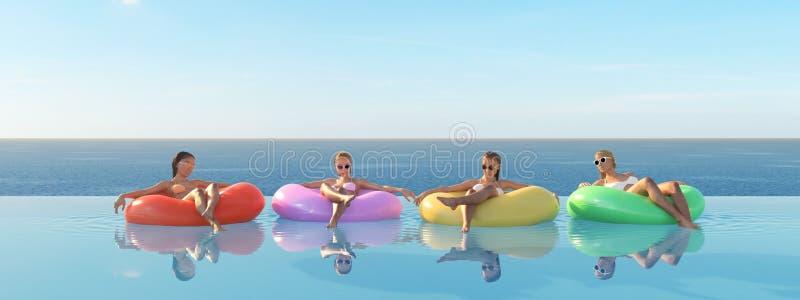 3D-Illustration delle donne che nuotano sul galleggiante in uno stagno illustrazione di stock