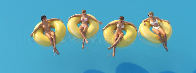 3D-Illustration delle donne che nuotano sul galleggiante in uno stagno illustrazione vettoriale