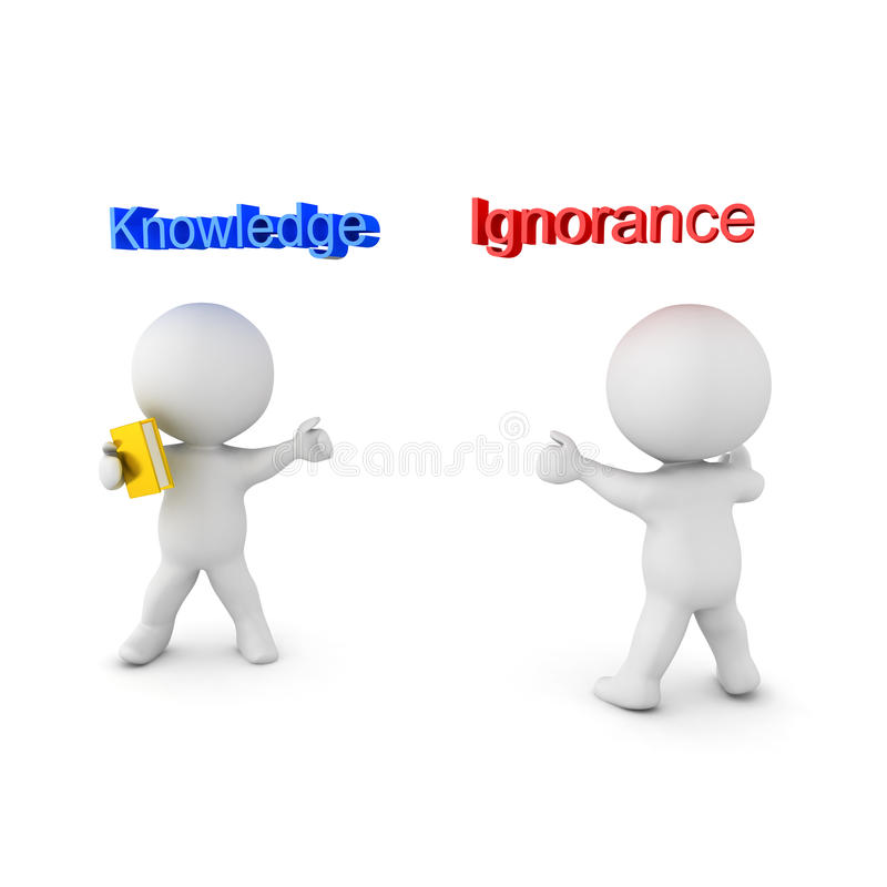 3D illustration depicting the concept of Knowledge versus Ignorance. On white royalty free illustration