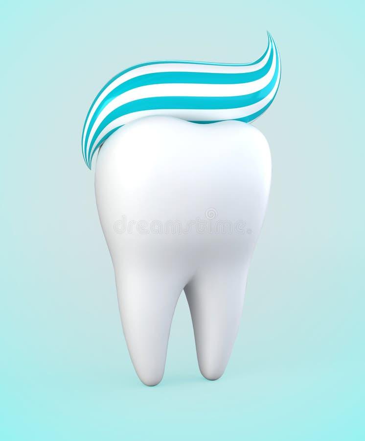 3D Illustration der Zahnpasta auf Zahn, zahnmedizinisches Konzept stock abbildung