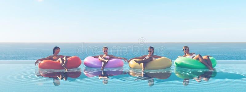 3D-Illustration des femmes nageant sur le flotteur dans une piscine illustration de vecteur