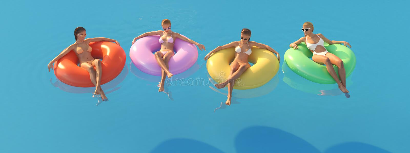 3D-Illustration des femmes nageant sur le flotteur dans une piscine illustration stock