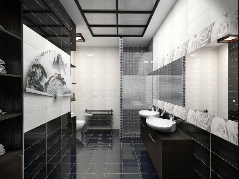 3D illustration of design of a bathroom in black-and-white color. 3D render of design of a bathroom in black-and-white color royalty free illustration