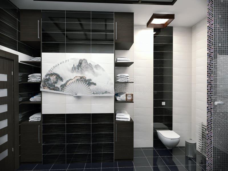 3D illustration of design of a bathroom in black-and-white color. 3D render of design of a bathroom in black-and-white color stock illustration