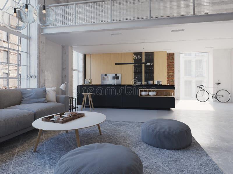 3D-Illustration di nuovo appartamento moderno del sottotetto della città fotografia stock libera da diritti