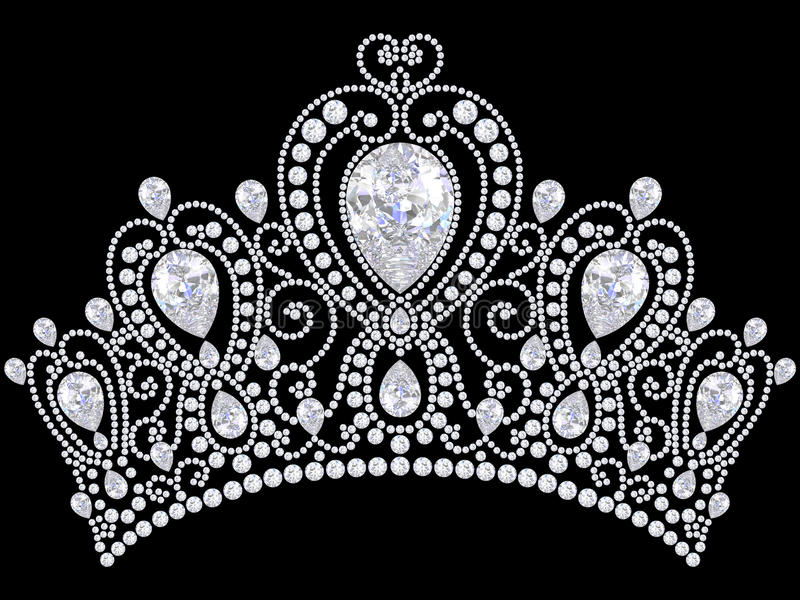 3D illustration diamond crown tiara vector illustration