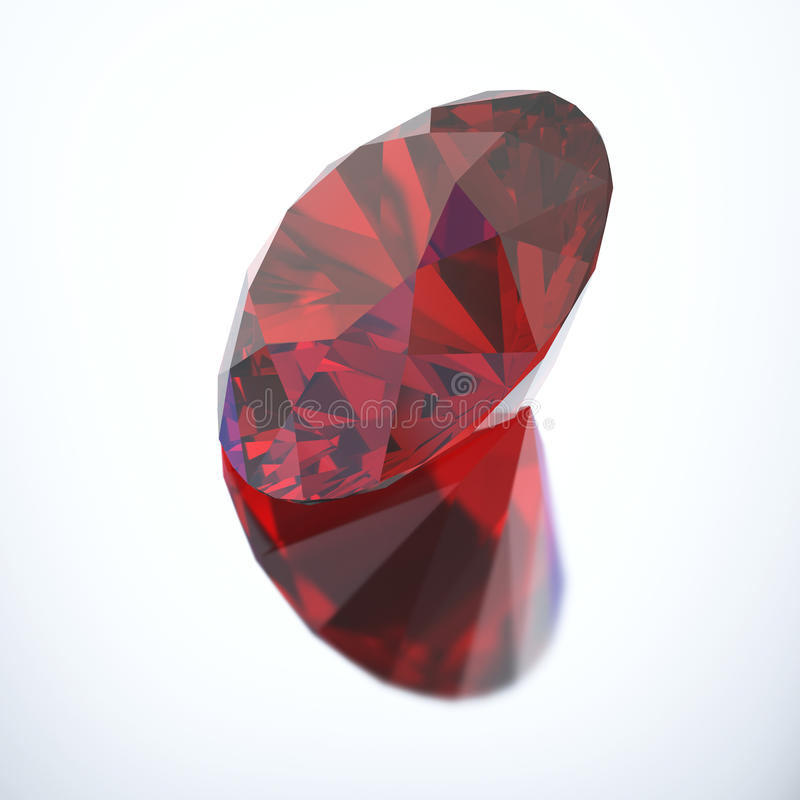 3D illustration diamond red ruby with reflection. On a gray background stock illustration
