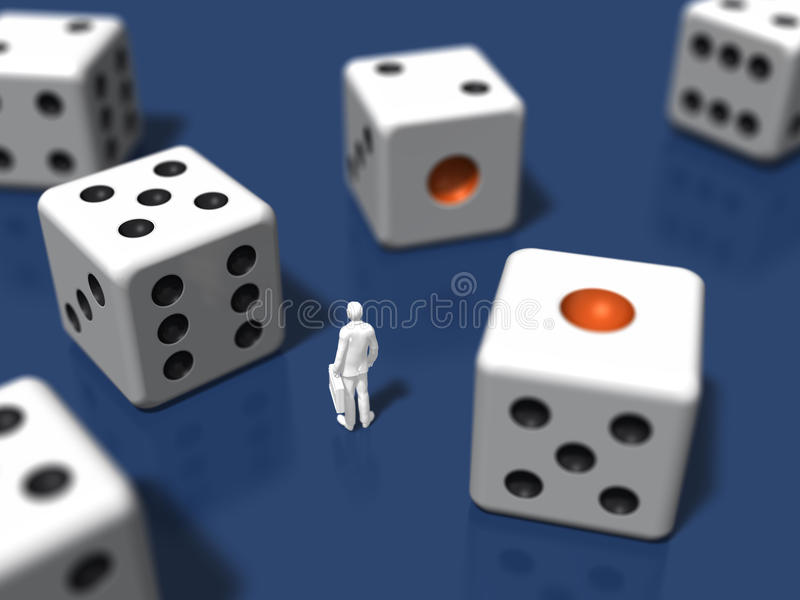 3D illustration of dice. 3D illustration of man surrounded by dice vector illustration