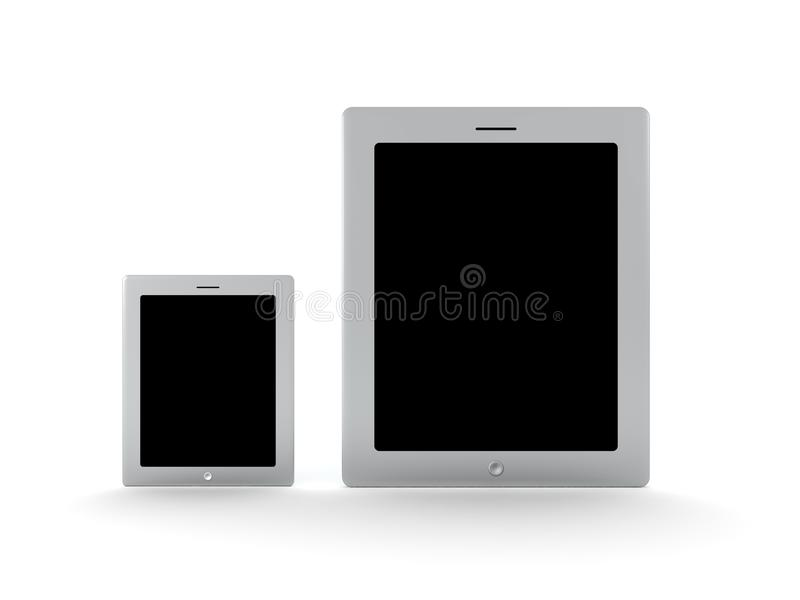 3D illustration of different sized tablet smartphone devices vector illustration