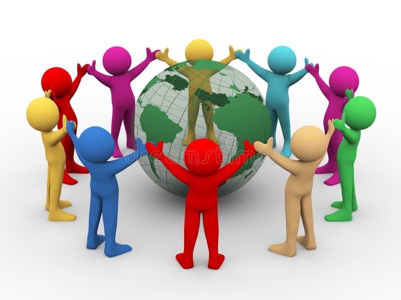 3d people around transparent globe stock illustration