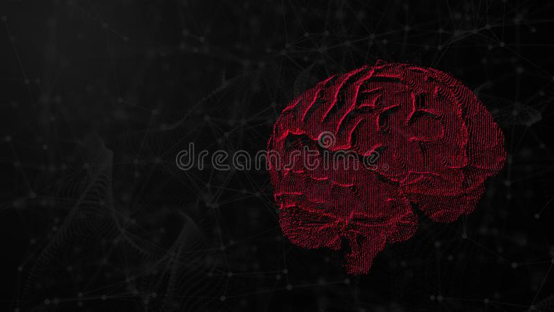 3d illustration of digital brain on futuristic background, concept of artificial intelligence and possibilities of mind vector illustration