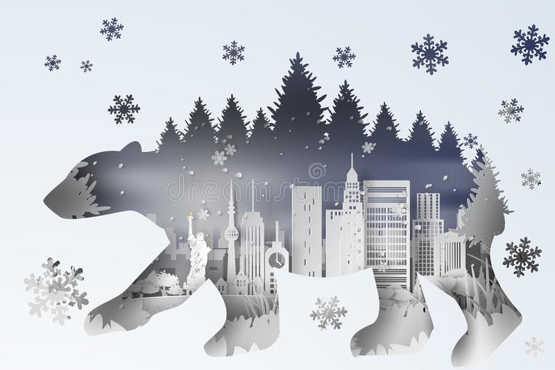 3D illustration digital Paper art of forest in New York City USA. landscape snowy with polar bear curve shadow concept,White. Cityscapes and forest snow view royalty free illustration
