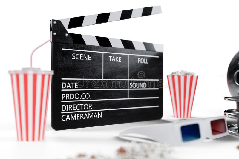 3D illustration, director chair, movie clapper, popcorn, 3d glasses, film strip, film reel and cup with carbonated drink. Isolated on white background. Cinema vector illustration