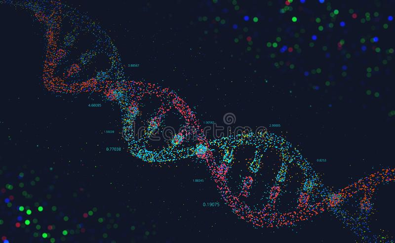 3D illustration of a DNA helix in the form of small dots. DNA molecule. Genome analysis and study of the genetic structure of the organism. 3D illustration of a vector illustration