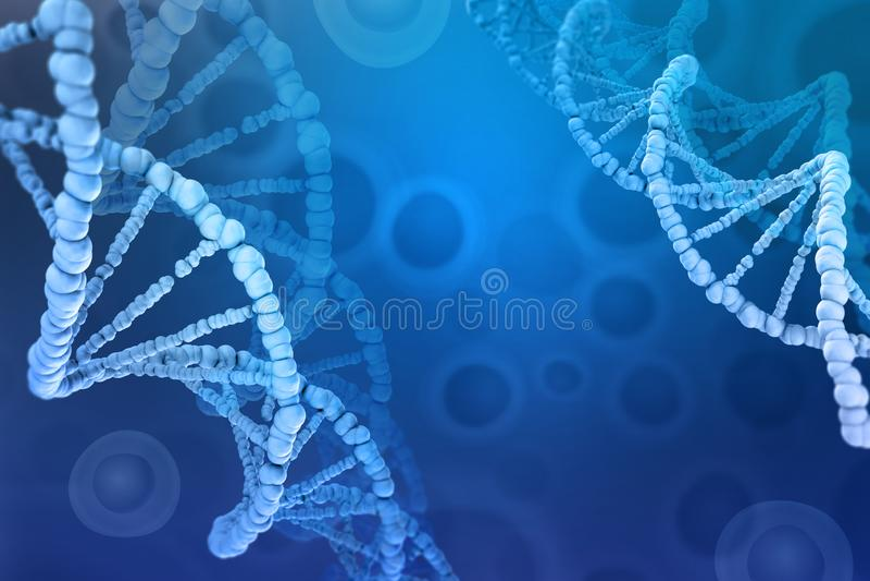 3D illustration of a DNA molecule. Investigation of cellular structure. Modern digital concept on a blue background royalty free illustration