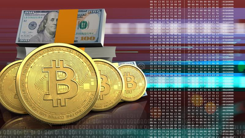 3d bitcoins row royalty free stock image