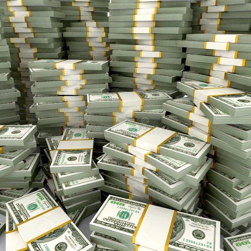 3d illustration of dollars stack stock illustration