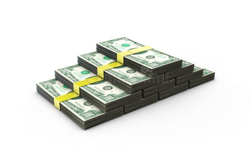 3d illustration of dollars stack over white background vector illustration
