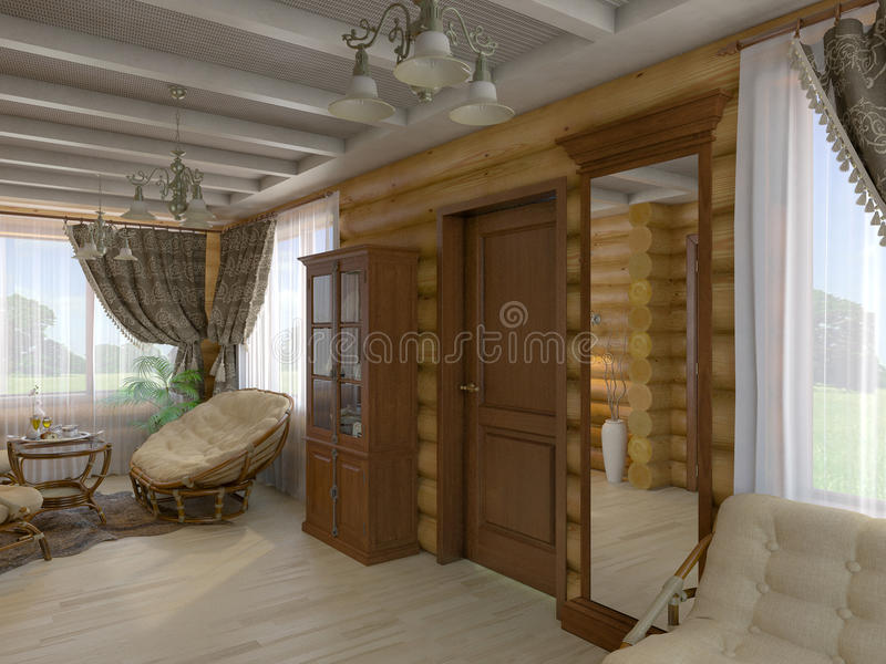 3D illustration of a drawing room and hall of the house from a l. 3D render of a drawing room and hall of the house from a log vector illustration