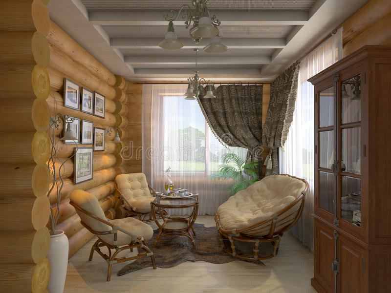 3D illustration of a drawing room and hall of the house from a l. 3D render of a drawing room and hall of the house from a log royalty free illustration