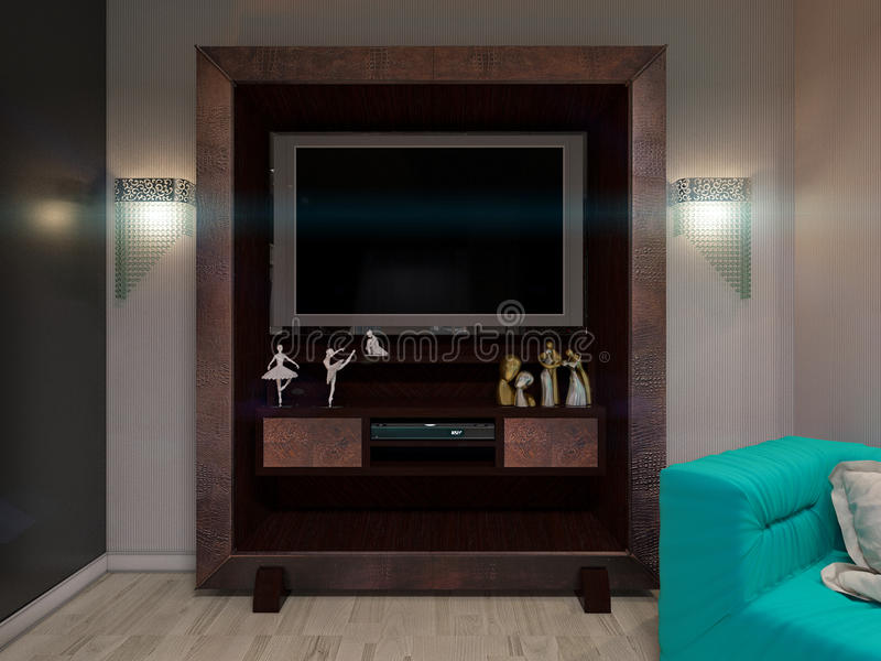 3D illustration of a drawing room in style of an art deco. TV system. Postcard. 3D render of a drawing room in style of an art deco. TV system. Postcard royalty free illustration