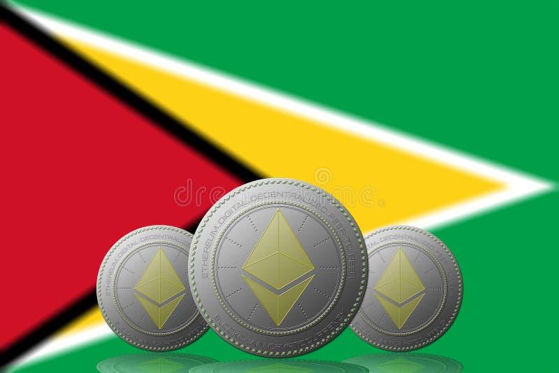 3D ILLUSTRATION drei ETHEREUM cryptocurrency mit Guyana-Flagge auf Hintergrund lizenzfreie abbildung