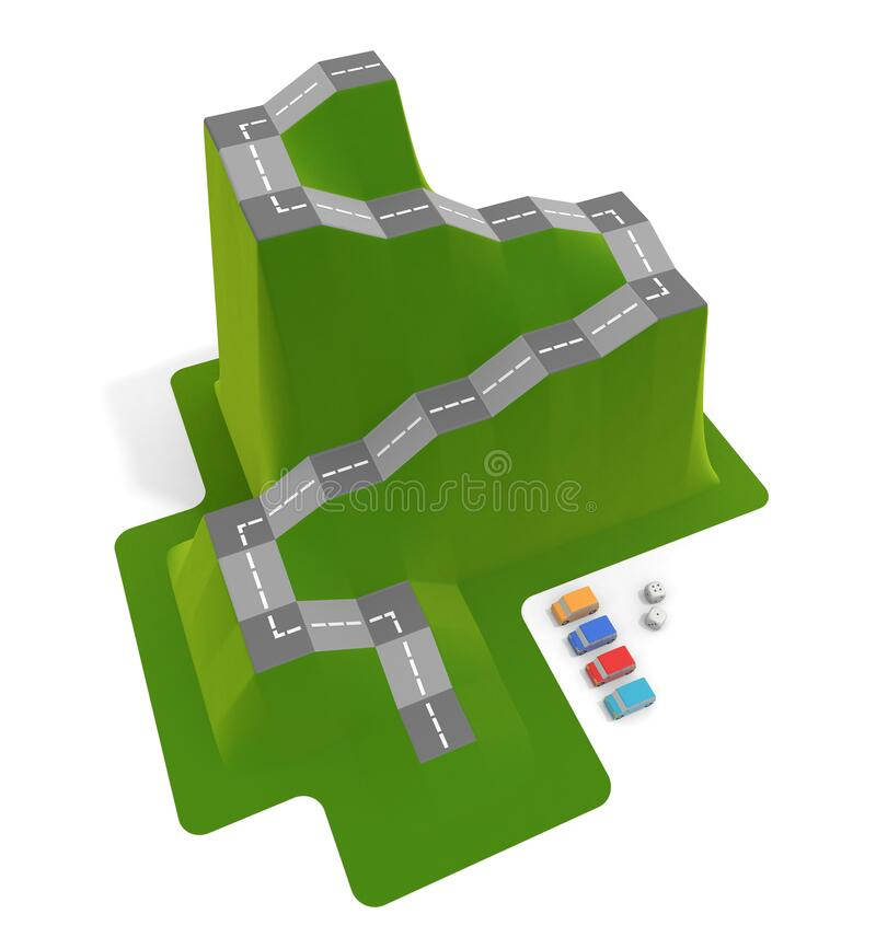 3D illustration. Driving school board game. A dice game inspired by mountains. vector illustration
