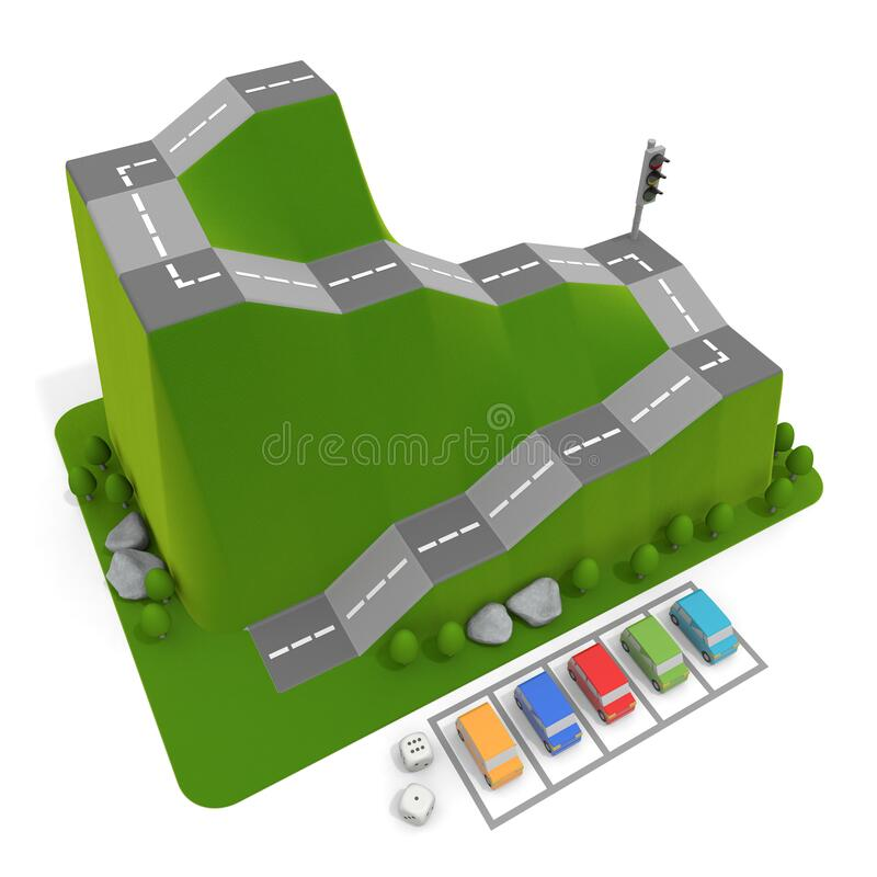3D illustration. Driving school and 5 cars. Car board game. vector illustration